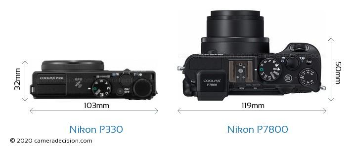 Nikon P330 vs Nikon P7800 Camera Size Comparison - Top View