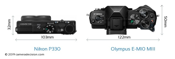Nikon P330 vs Olympus E-M10 MIII Camera Size Comparison - Top View