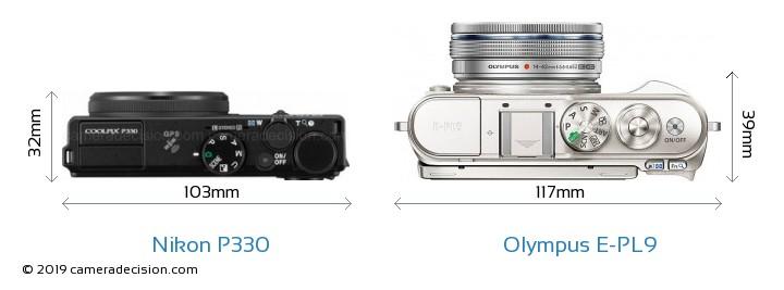 Nikon P330 vs Olympus E-PL9 Camera Size Comparison - Top View