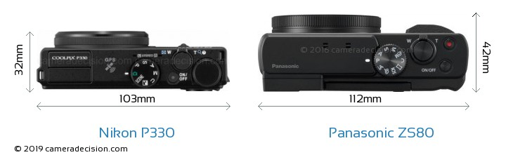Nikon P330 vs Panasonic ZS80 Camera Size Comparison - Top View