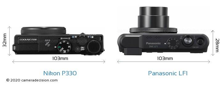 Nikon P330 vs Panasonic LF1 Camera Size Comparison - Top View
