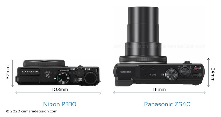 Nikon P330 vs Panasonic ZS40 Camera Size Comparison - Top View