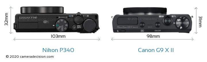 Nikon P340 vs Canon G9 X II Camera Size Comparison - Top View