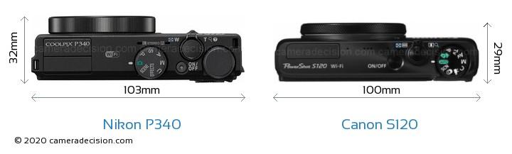 Nikon P340 vs Canon S120 Camera Size Comparison - Top View