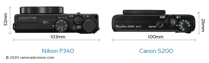Nikon P340 vs Canon S200 Camera Size Comparison - Top View