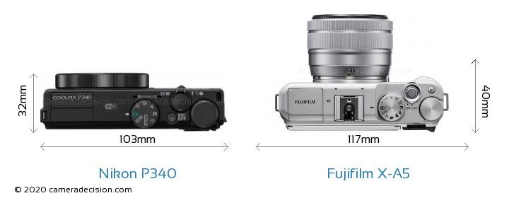 Nikon P340 vs Fujifilm X-A5 Camera Size Comparison - Top View