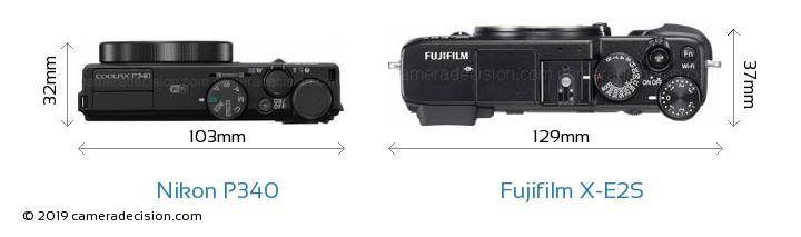 Nikon P340 vs Fujifilm X-E2S Camera Size Comparison - Top View