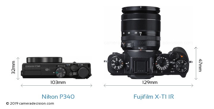 Nikon P340 vs Fujifilm X-T1 IR Camera Size Comparison - Top View