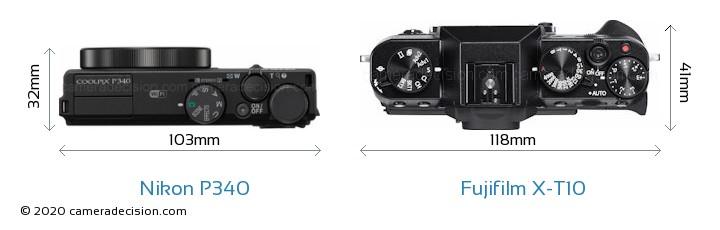Nikon P340 vs Fujifilm X-T10 Camera Size Comparison - Top View