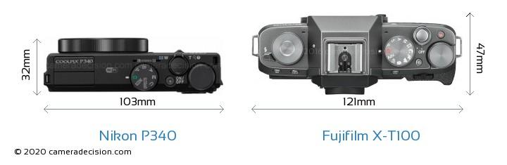 Nikon P340 vs Fujifilm X-T100 Camera Size Comparison - Top View