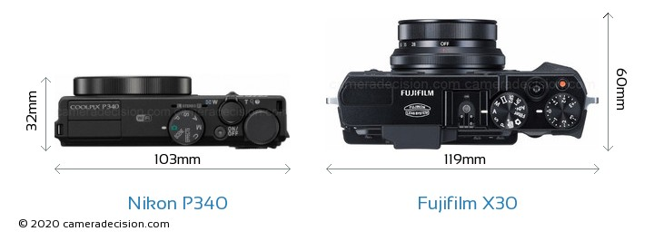 Nikon P340 vs Fujifilm X30 Camera Size Comparison - Top View