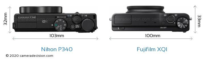 Nikon P340 vs Fujifilm XQ1 Camera Size Comparison - Top View