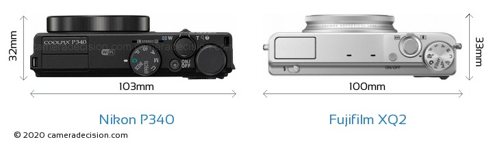 Nikon P340 vs Fujifilm XQ2 Camera Size Comparison - Top View