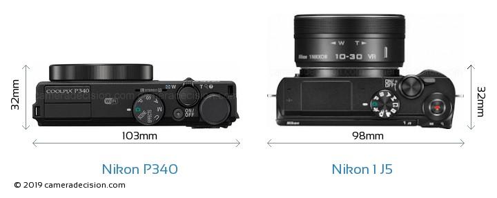 Nikon P340 vs Nikon 1 J5 Camera Size Comparison - Top View