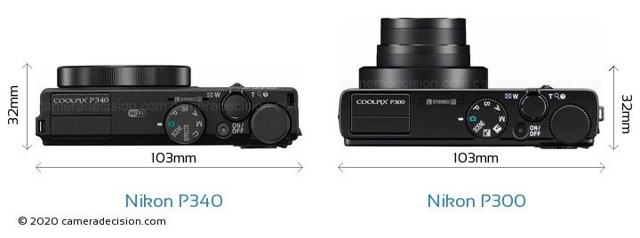 Nikon P340 vs Nikon P300 Camera Size Comparison - Top View