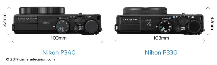 Nikon P340 vs Nikon P330 Camera Size Comparison - Top View