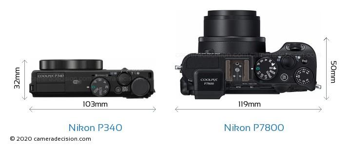 Nikon P340 vs Nikon P7800 Camera Size Comparison - Top View