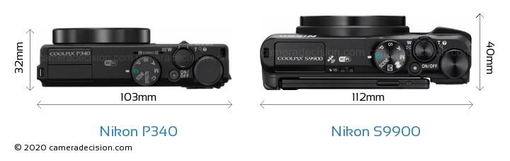 Nikon P340 vs Nikon S9900 Camera Size Comparison - Top View