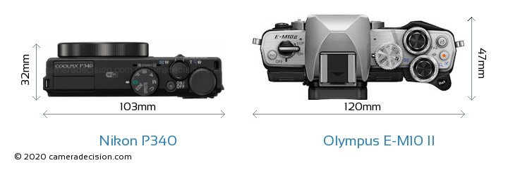 Nikon P340 vs Olympus E-M10 II Camera Size Comparison - Top View