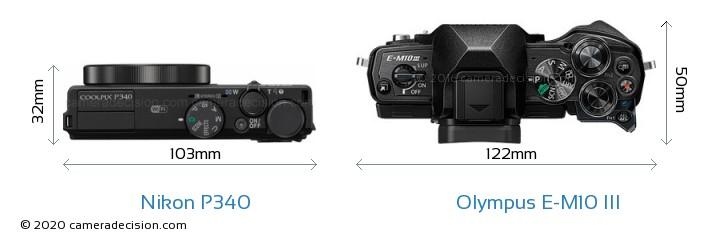 Nikon P340 vs Olympus E-M10 MIII Camera Size Comparison - Top View