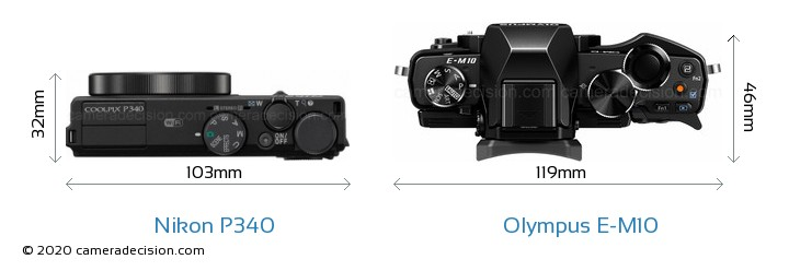 Nikon P340 vs Olympus E-M10 Camera Size Comparison - Top View