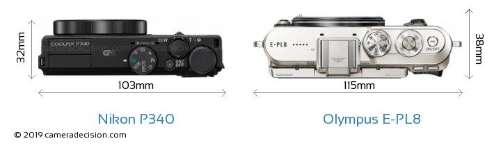 Nikon P340 vs Olympus E-PL8 Camera Size Comparison - Top View
