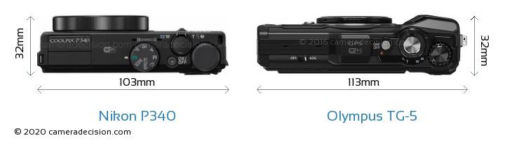 Nikon P340 vs Olympus TG-5 Camera Size Comparison - Top View