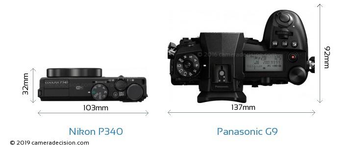 Nikon P340 vs Panasonic G9 Camera Size Comparison - Top View