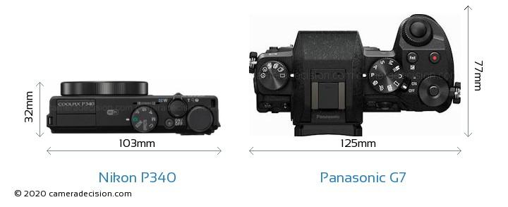 Nikon P340 vs Panasonic G7 Camera Size Comparison - Top View