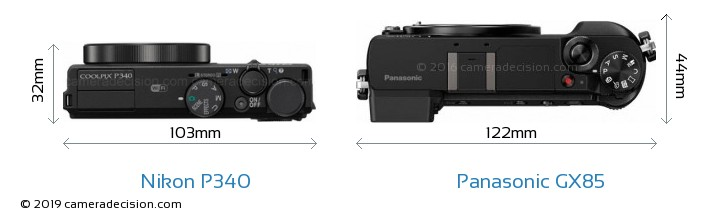Nikon P340 vs Panasonic GX85 Camera Size Comparison - Top View