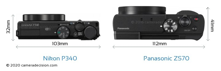 Nikon P340 vs Panasonic ZS70 Camera Size Comparison - Top View