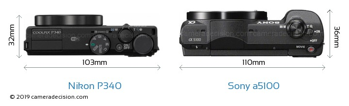 Nikon P340 vs Sony a5100 Camera Size Comparison - Top View