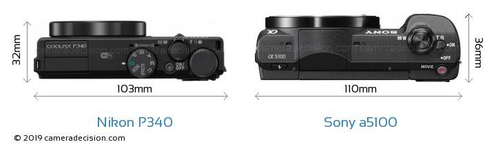 Nikon P340 vs Sony a5100 Camera Size Comparison - Top View