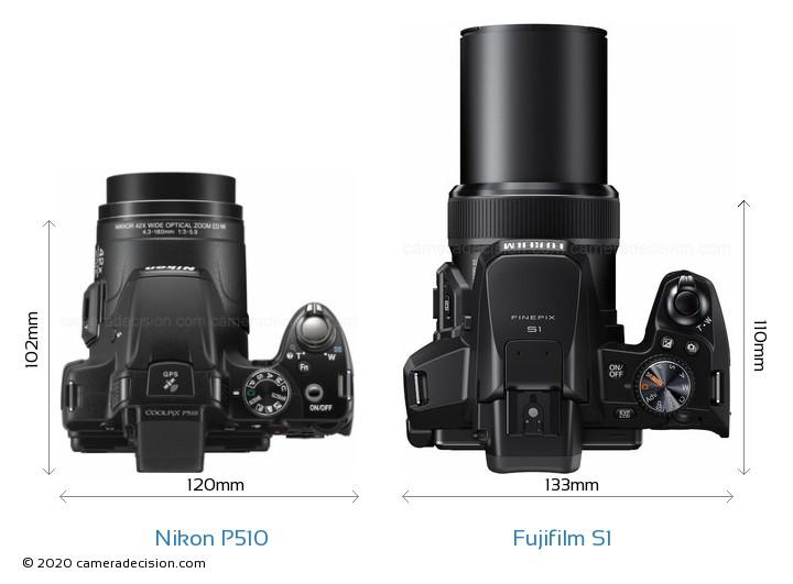 Nikon P510 vs Fujifilm S1 Camera Size Comparison - Top View