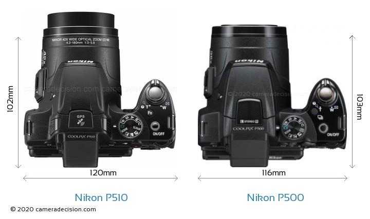 Nikon P510 vs Nikon P500 Camera Size Comparison - Top View