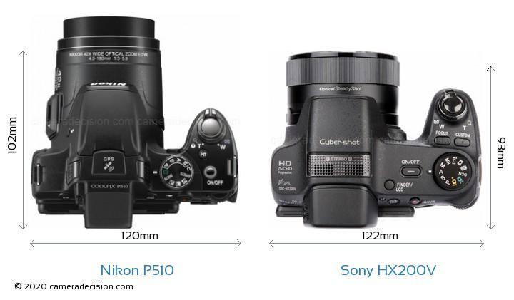 Nikon P510 vs Sony HX200V Camera Size Comparison - Top View