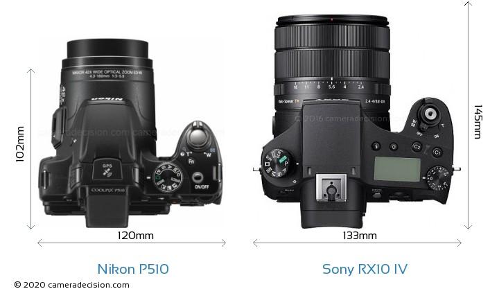 Nikon P510 vs Sony RX10 IV Camera Size Comparison - Top View