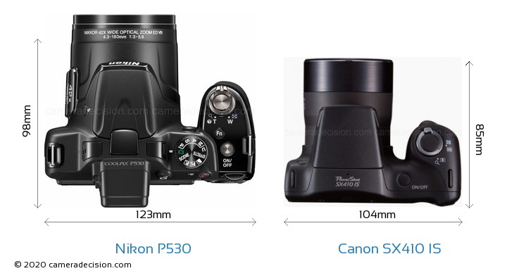 Nikon P530 vs Canon SX410 IS Camera Size Comparison - Top View