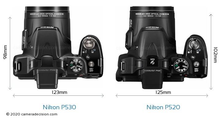 Nikon P530 vs Nikon P520 Camera Size Comparison - Top View