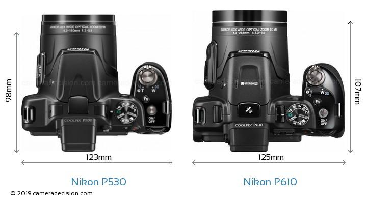 Nikon P530 vs Nikon P610 Camera Size Comparison - Top View