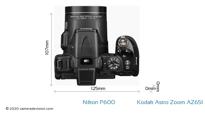 Nikon P600 vs Kodak Astro Zoom AZ651 Camera Size Comparison - Top View