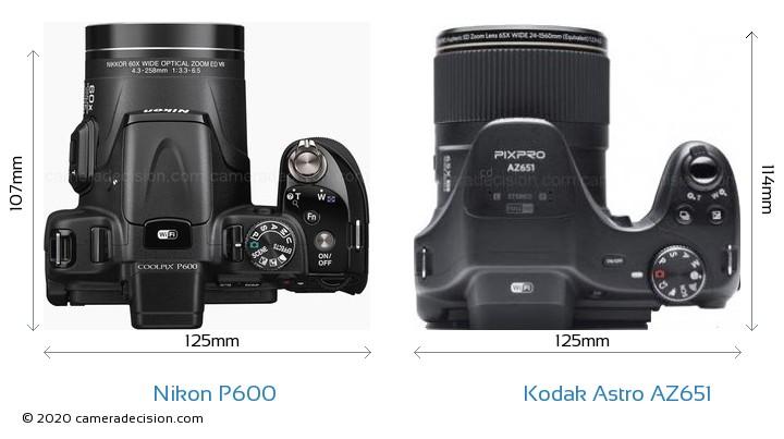Nikon P600 vs Kodak Astro Zoom AZ651 Camera Size Comparison - Top View