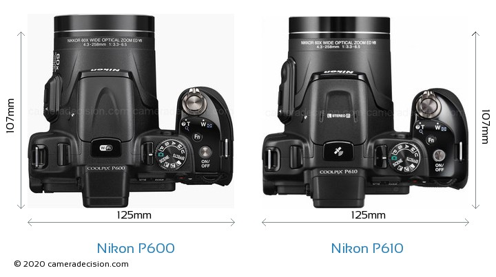 Nikon P600 vs Nikon P610 Camera Size Comparison - Top View