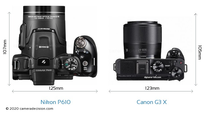 Nikon P610 vs Canon G3 X Camera Size Comparison - Top View