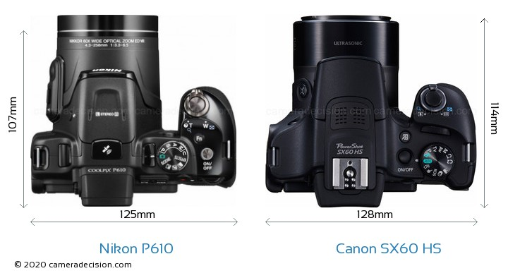 Nikon P610 vs Canon SX60 HS Camera Size Comparison - Top View