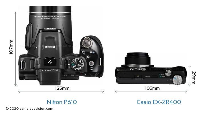 Nikon P610 vs Casio EX-ZR400 Camera Size Comparison - Top View