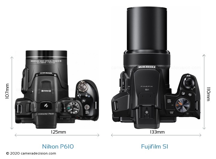 Nikon P610 vs Fujifilm S1 Camera Size Comparison - Top View