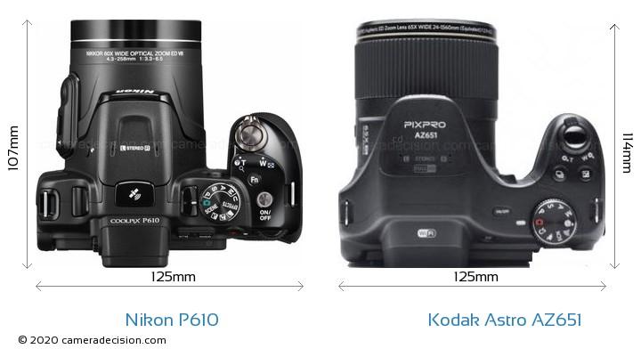 Nikon P610 vs Kodak Astro Zoom AZ651 Camera Size Comparison - Top View