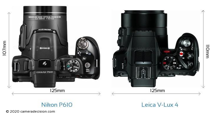Nikon P610 vs Leica V-Lux 4 Camera Size Comparison - Top View