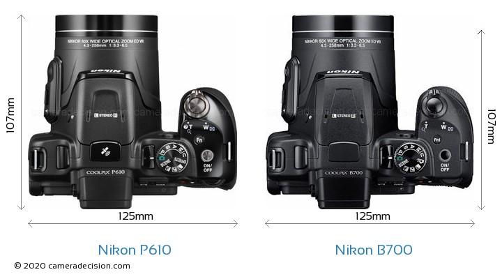 Nikon P610 vs Nikon B700 Camera Size Comparison - Top View